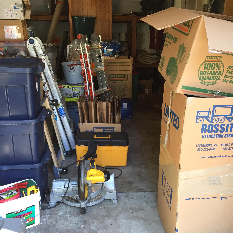 Garage before unpacking