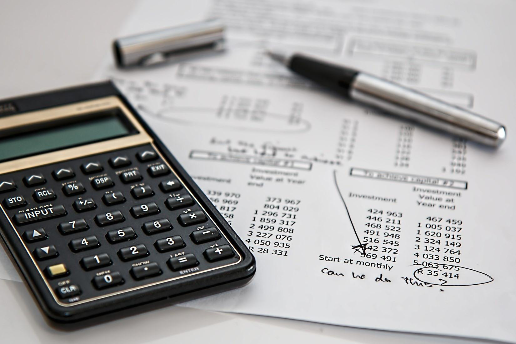 Calclulator and financial paperwork