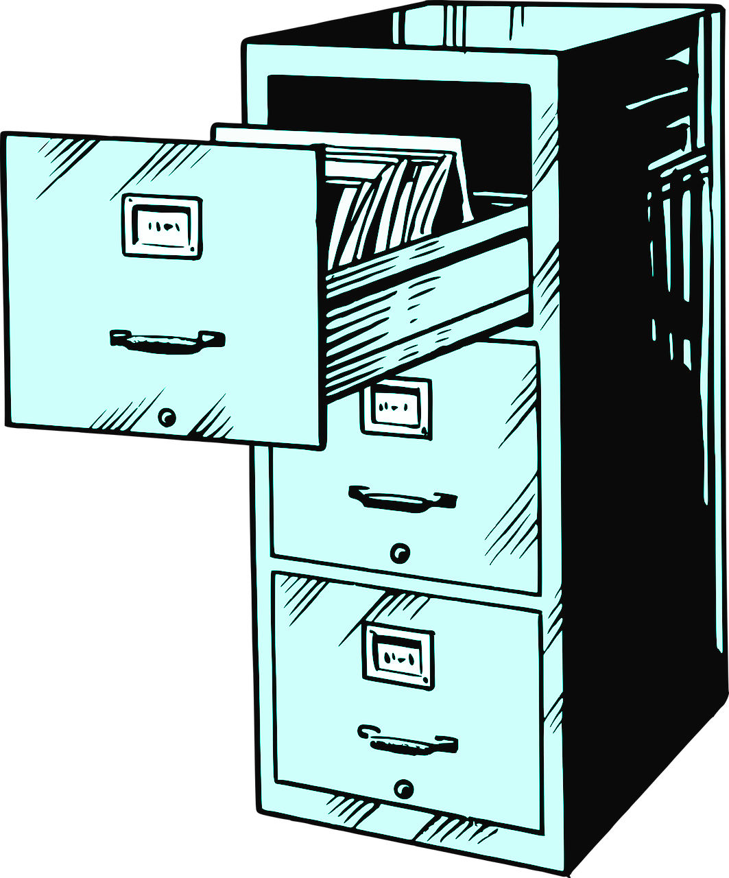 Illustration of a filing cabinet, with papers inside.