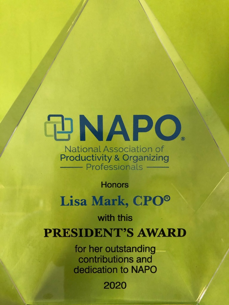 Lisa Mark, C.P.O. was honored with the NAPO President's Award